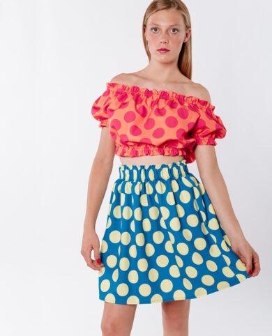 falda topos azul