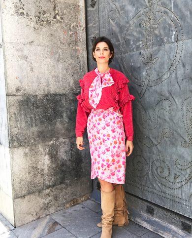 Falda florecillas rosas