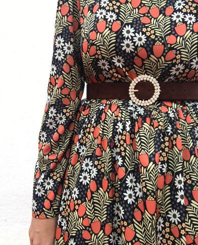 Cinturón brillantes redondo marrón