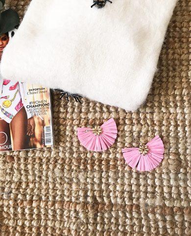 Pendientes abanico rosa
