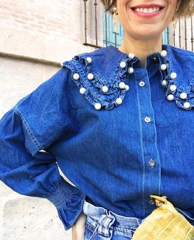 Camisa denim babero perlas