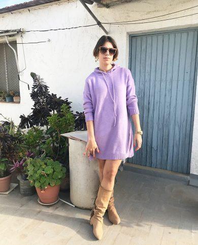 Vestido sudadera punto lila