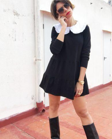 Vestido negro cuello babero