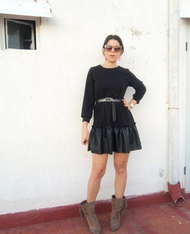 Vestido combinado polipiel