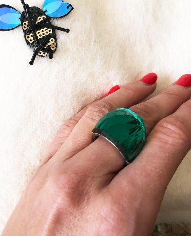 Anillo cristal verde