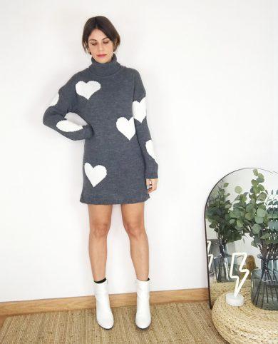 Vestido punto corazones gris