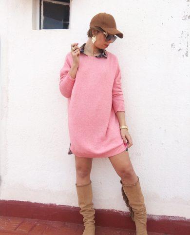 Vestido punto rosa