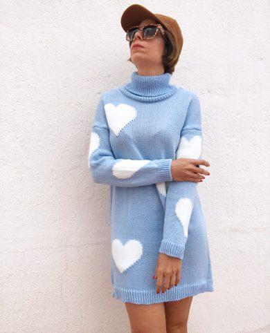 Vestido punto corazones azul