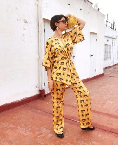 Pantalón leopardos y plantas