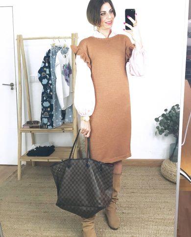 Vestido punto volantes marrón
