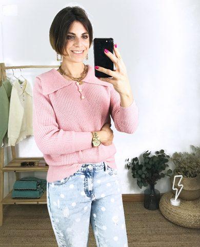 Jersey botones perlas rosa