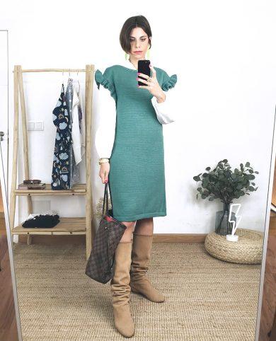 Vestido punto volantes verde