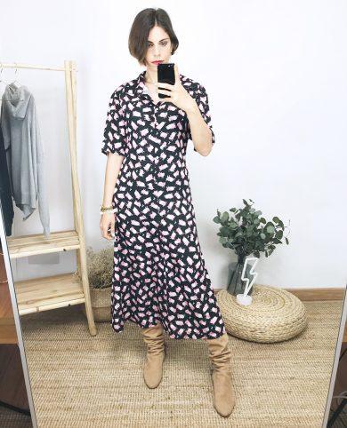 Vestido camisero cerditos