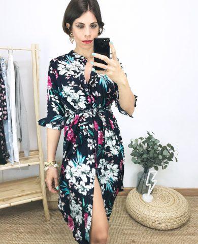 Vestido estampado tropical azul