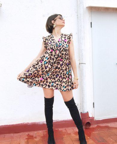 Vestido leopardo divertido