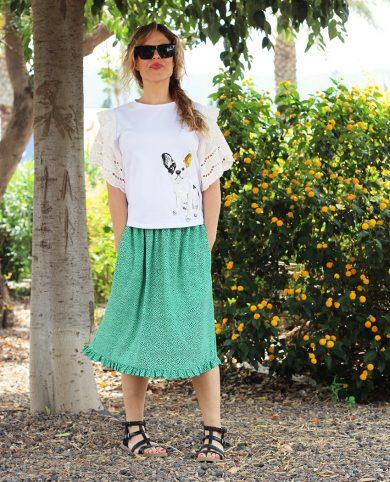 Falda puntitos verdes