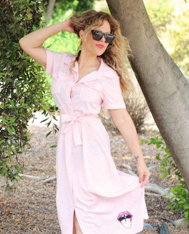 Vestido boca cañera rosa