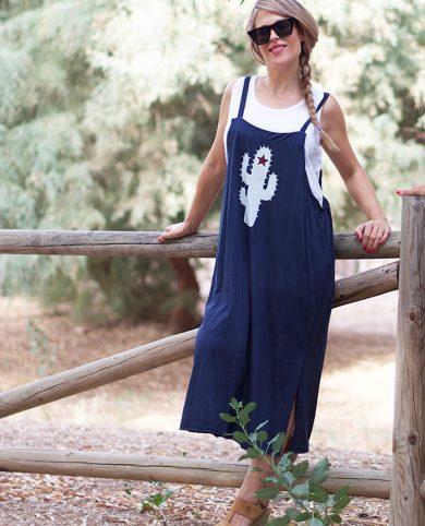 Vestido y camiseta cactus azul