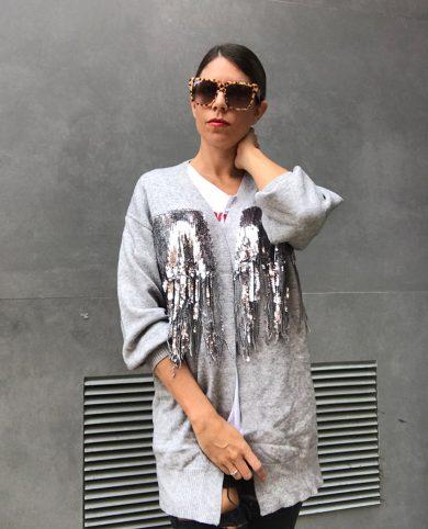 Maxi cardigan gris glitter